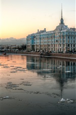 Preview iPhone wallpaper Saint Petersburg, Russia, river, city, houses, winter, snow