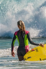 Preview iPhone wallpaper Sea wave, surfing girl, board