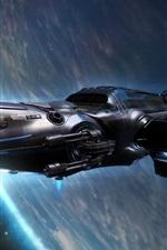 iPhone обои Космический корабль полет, планета, Вселенная