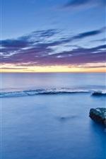 Espanha, Valência, mar, costa, pedras, musgo, nuvens, pôr do sol
