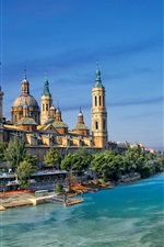 Preview iPhone wallpaper Spain, Zaragoza, Ebro river, houses, bridge