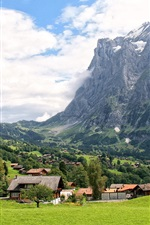 Preview iPhone wallpaper Switzerland, Grindelwald, mountains, grass, trees, village, clouds, sky