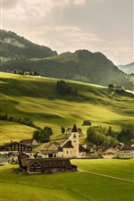 Preview iPhone wallpaper Switzerland, meadows, green fields, village, Alps, mountains, trees