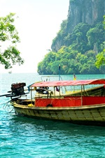Preview iPhone wallpaper Thailand, fishing boat, trees, sea, mountain