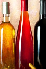 Preview iPhone wallpaper Three bottles wine, corkscrew, grapes, glass cup
