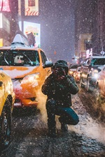 Preview iPhone wallpaper Times Square, New York, Manhattan, USA, city, street, winter, taxi, photography