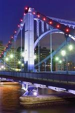 iPhone fondos de pantalla Tokio, Japón, capital, noche, puente, río, luces