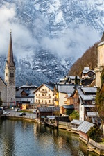 Preview iPhone wallpaper Travel to Hallstatt, Austria, mountains, alps, houses, fogs, trees, snow, winter