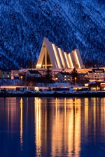 Preview iPhone wallpaper Tromso, Norway, winter, city, sea, mountain, night, lights