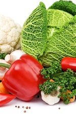 Preview iPhone wallpaper Vegetables, cabbage, onion, pepper, garlic, cauliflower