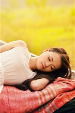 Preview iPhone wallpaper White dress Asian girl sleeping in the boat