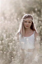 Preview iPhone wallpaper White dress girl in the flowers, wreath