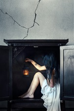 Preview iPhone wallpaper White dress girl sit in the fireplace, wall, creative picture