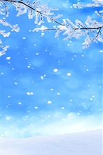Preview iPhone wallpaper Winter, twigs, snow, snowflakes, sky