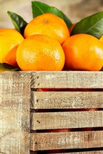Preview iPhone wallpaper Wood box, oranges, fruit