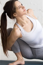 Preview iPhone wallpaper Workout, yoga, long hair girl