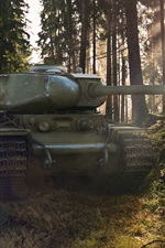 Preview iPhone wallpaper World of Tanks, forest, trees, sun rays