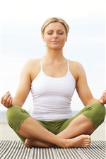 Preview iPhone wallpaper Yoga girl, sit down