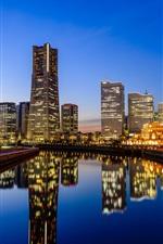 iPhone обои Иокогама, Япония, город, небоскребы, чертово колесо, вода отражение, огни