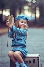 Preview iPhone wallpaper Youngest travelers, suitcase, cute blonde girl, child