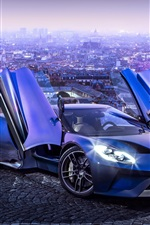 Preview iPhone wallpaper 2017 Ford GT blue supercar in the city