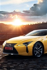 Preview iPhone wallpaper 2017 Lexus LC 500 yellow supercar at sunset