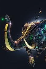 Preview iPhone wallpaper 3D abstract elephant, creative design