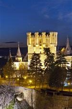 Alcazar Segovia, Spain, castle, lights, trees, dusk
