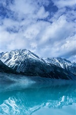 Preview iPhone wallpaper Aoraki, mountain, lake, snow, New Zealand