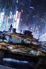 Preview iPhone wallpaper Armored Warfare Game, tank, China city, street, rain