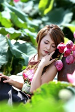 Preview iPhone wallpaper Asian girl and pink lotus