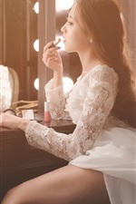 Preview iPhone wallpaper Asian girl makeup, bride, mirror