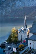 Preview iPhone wallpaper Austria, Hallstatt, mountains, lake, Alps, town