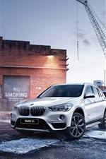 Preview iPhone wallpaper BMW X1 F48 white SUV car