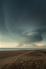 Preview iPhone wallpaper Beach, sands, sea, clouds, storm