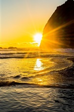Preview iPhone wallpaper Beautiful sunset sea, coast, water, stones, sun rays