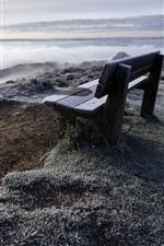 Preview iPhone wallpaper Bench, mountain, river, grass, fog, morning