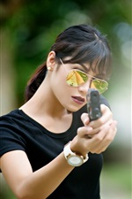 Preview iPhone wallpaper Black dress girl use gun, glasses