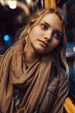 Preview iPhone wallpaper Blonde girl, blue eyes, window, rain