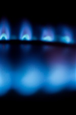 Preview iPhone wallpaper Blue fire flame, burner, blurry