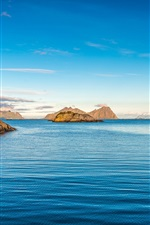 Preview iPhone wallpaper Blue sea, islands, lighthouse, sky
