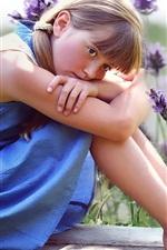 Preview iPhone wallpaper Blue skirt cute little girl