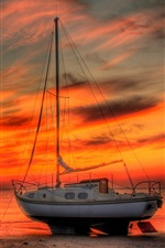 Preview iPhone wallpaper Boat, yacht, beach, sea, red sky, sunset