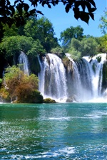 Preview iPhone wallpaper Bosnia and Herzegovina, waterfalls, trees