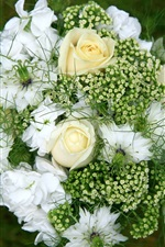 Preview iPhone wallpaper Bouquet, flowers, white rose