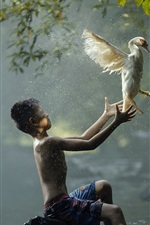 Preview iPhone wallpaper Boy and bird, river
