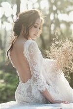 Preview iPhone wallpaper Bride back view, Asian girl, white skirt, flowers