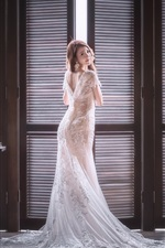 Preview iPhone wallpaper Bride look back, Asian girl, room, window