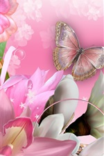 Preview iPhone wallpaper Butterfly, orchids, flowers, collage, creative design