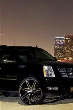 Vorschau des iPhone Hintergrundbilder Cadillac schwarzes Auto Seitenansicht, Stadt, Nacht